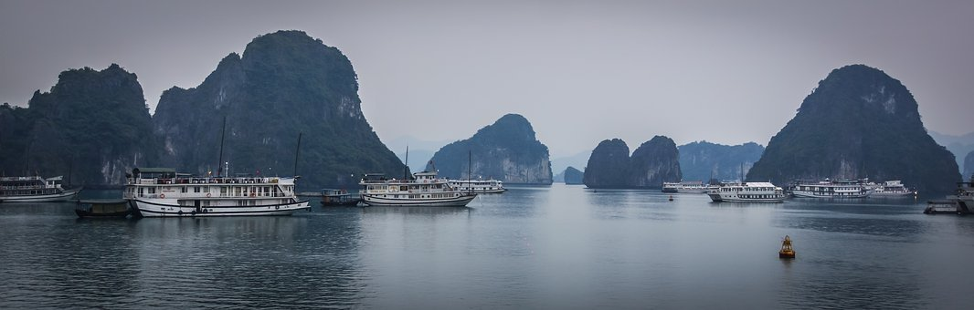 Halong Bay, Vietnam, Haze, Junk, Nature, Lime Rock