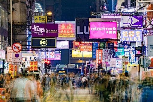 Mong Kok, Hong Kong, Asia, Street, Night, View, People