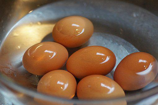Eggs, Brewed, On, Hard-boiled, Chilled, Water, Bath