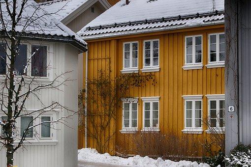 Winter, Street, Town, Houses