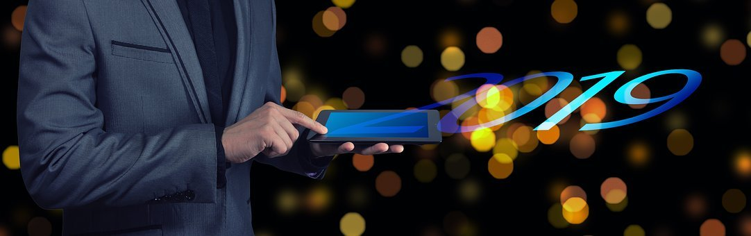 New Year's Day, Year, Businessman, Tablet, Bokeh, Start
