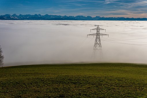 Switzerland, Alpine, Alps, Fog Line, Mountains
