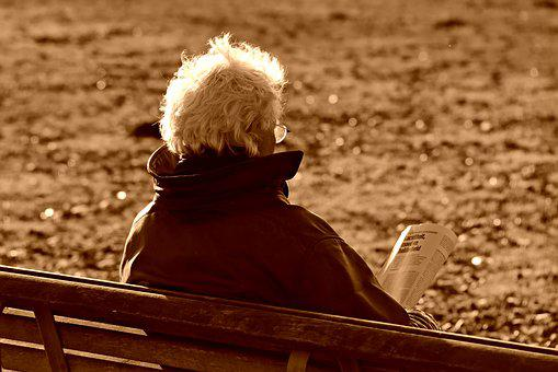 Elderly Man, Person, Sitting, Reading, Book, Bench