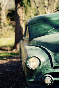 Green, Old, Car, Antique