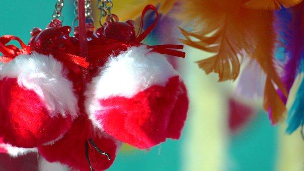 Christmas, Balls, Fur, Red, Decoration, Ball, Lights