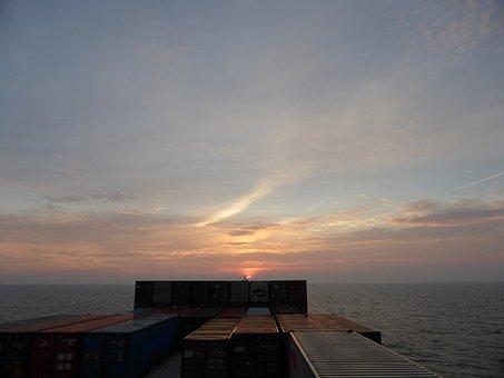Ship, Container, Sea, Sunrise