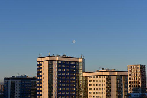 City, Development, At Home, Residential, Winter, Moon