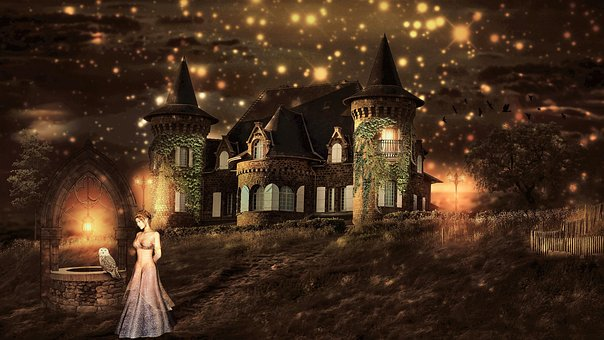 Fantasy, Fairy Tales, Elves Castle, Light, Composing