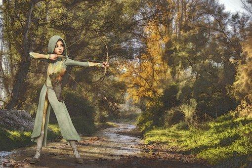 Archer, Bow And Arrow, Bach, Forest, Fantasy