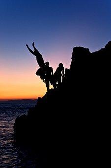 Freedom, People, Happy, Outdoor, Sea, Sunset, Swim, Sky