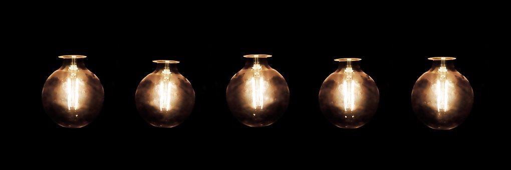 Light Bulbs, Series, Garland, Light, Shining, Chain