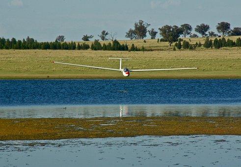 Glider, Reflection, Lake, Sailplane, Gliding