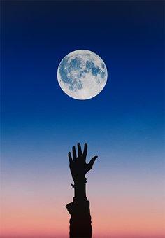 Moon, Sky, Blue, Hand, Arm, Night