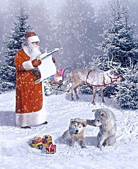New Year's Eve, Gifts, Santa Claus, Deer, Holiday