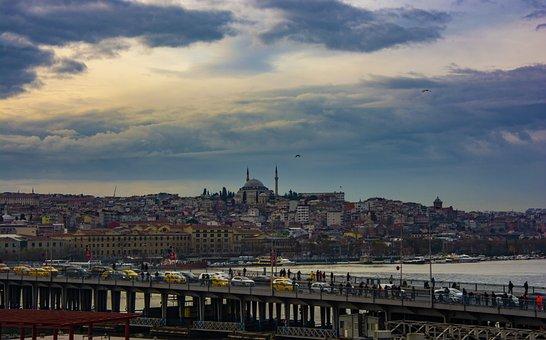 Istanbul, Bridge, Turkey, Throat, Galata, Cami, Blue