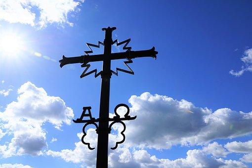 Cross, Jesus, Omega, Alpha, Iron, Steel, Church