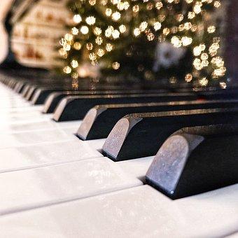 Piano, Keys, Christmas, Christmas Lights, Lights