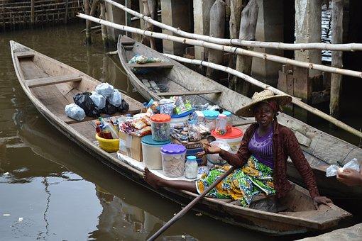Woman, Africa, Portrait, Canoe, Saleswoman, Market
