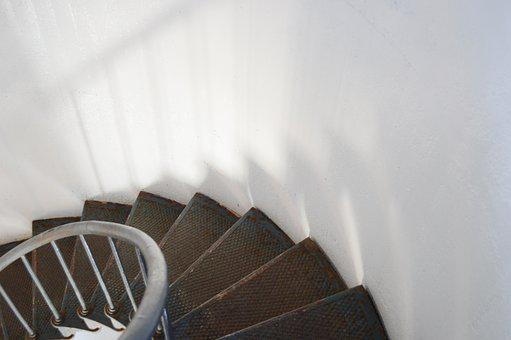 Stairs, Lighthouse, Staircase, Spiral, Metal, Railing