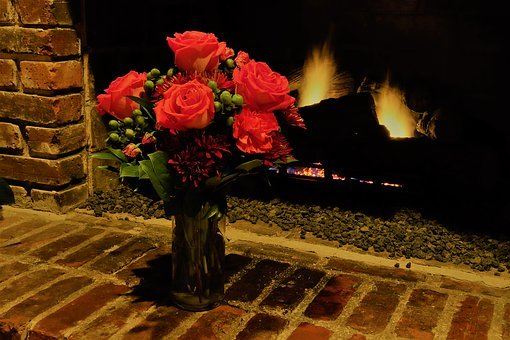 Roses, Fireplace, Bricks, Green, Flames, Red, Mood