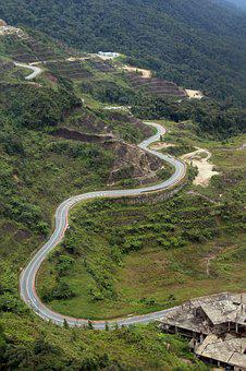Mountain Road, Aerial View, Curve, Car, Road