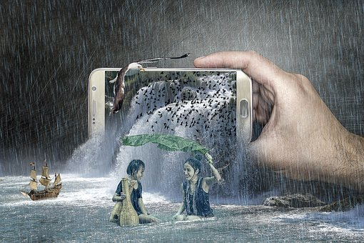 Fantasy, Waterfall, Phone, Smartphone, Woman, Young