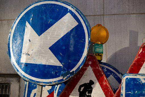 Arrow, Blue, Direction, Pointing, Left, Way, Sign, Road