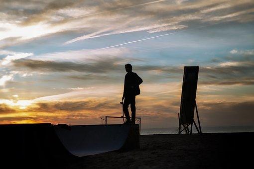 Skater, Sunset, Skateboarding, Skateboard, People, Ramp