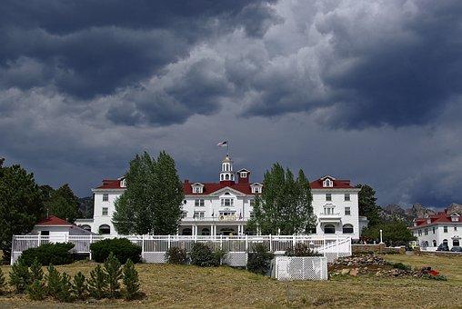 Estes Park's Stanley Hotel, Mountain, Hotel, Dark, Sky