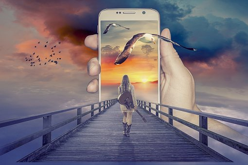 Manipulation, Phone, Smartphone, Woman, Guitar, Pop Out