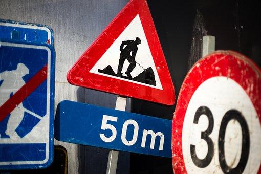 Sign, Street, Traffic, Work, Construction, Speed Limit