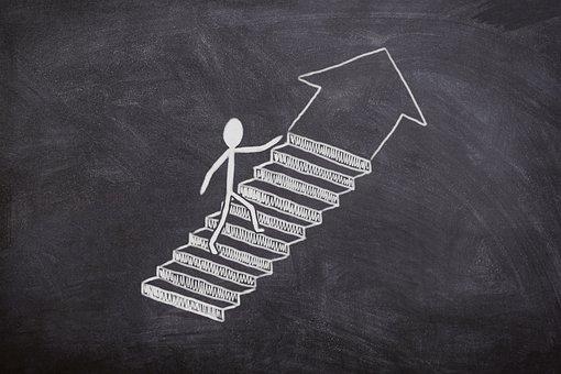 Board, Chalk, Success, Stairs, Business, Job, Away