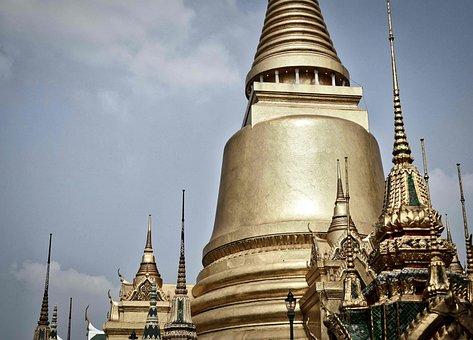 Stupa, Gold, Temple, Buddhism, Thailand, Wat, Asia