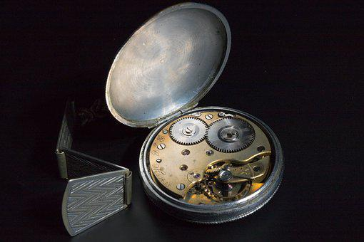 Hour S, Time, Old, Pocket Watch, Silver, Wind-up