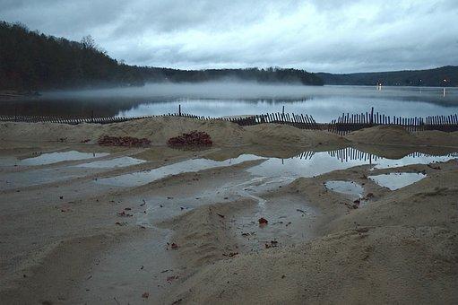 Beach, Lake, Park, Overcast, Twilight, Fog, Mist