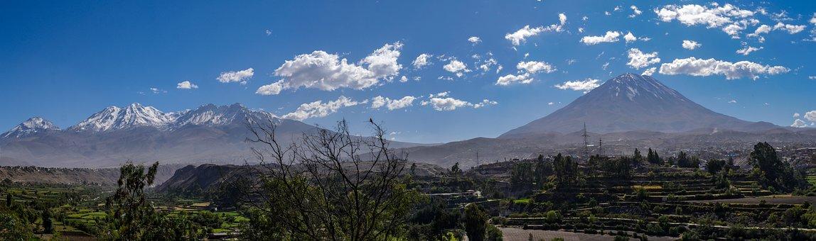 Volcanoes, Misti, Chachani, Panorama, Arequipa, Peru