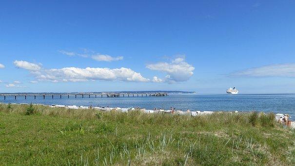 Beach, Summer, Sun, Binz, Cruise Ship, Baltic Sea