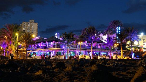 Beach Bar, Tenerife, Miami, Night