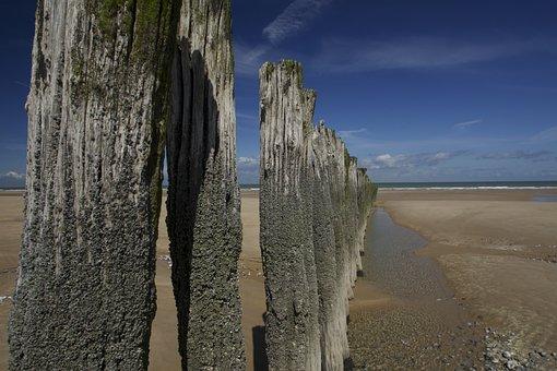 Beach, Bar, Post, Pile, Coast, Water, Bollard, Sky