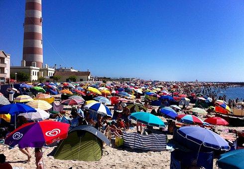 Portugal, Ilhavo, Beach, A Bar, Umbrellas, Sand
