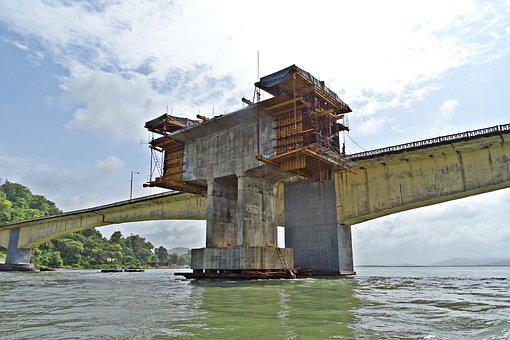 Bridge, Pillar, Tower, Estuary, River, Kali, Crossing