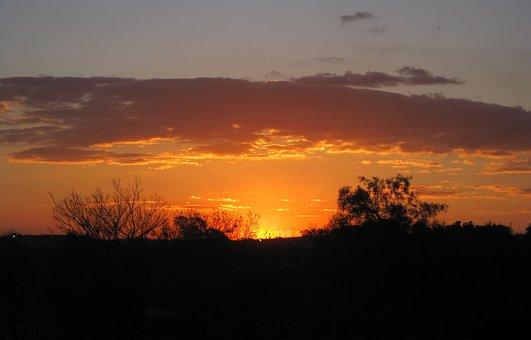 Sunset, Bright, Orange, Sun, Cloud, Edging, Luminous