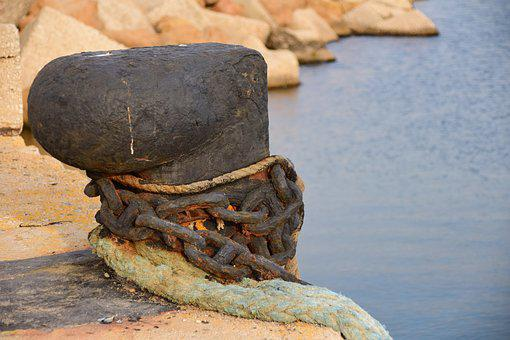 Port, Dock, Pier, Metal, Chain, Sea, Close Up