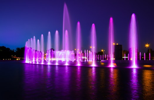 Fountain, Multimedia, Warsaw, Light, Water, City, Color