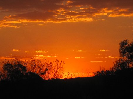 Sunset, Orange-gold, Vivid, Bright, Luminous, Clouds
