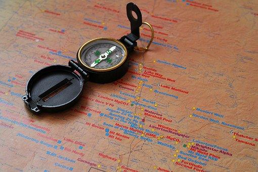 Compass, Map, Navigation, Gold Card