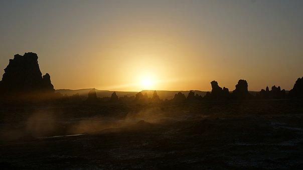 Rocks, Sunrise, Chimneys, Assal Lake, Djibouti
