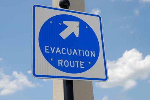 Evacuation Sign, Signage, Safety, Emergency, Direction