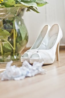 White, Wedding, Shoes, Higheels, Garter