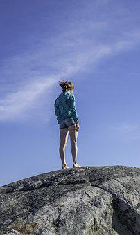 Young Woman, Windy, Rock, Mountain, Sky, Girl